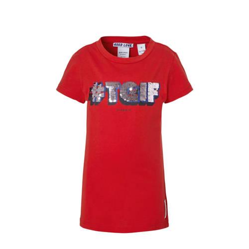 NIK&NIK T-shirt met pailletten Tgif rood kopen