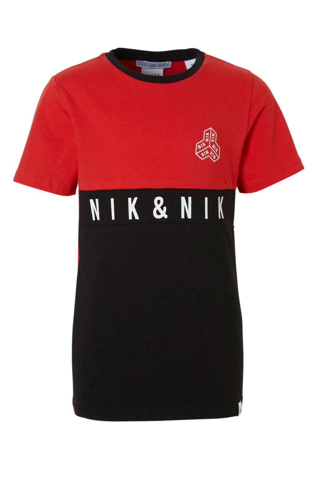 NIK&NIK T-shirt met logo Joshua rood/zwart, Rood/zwart