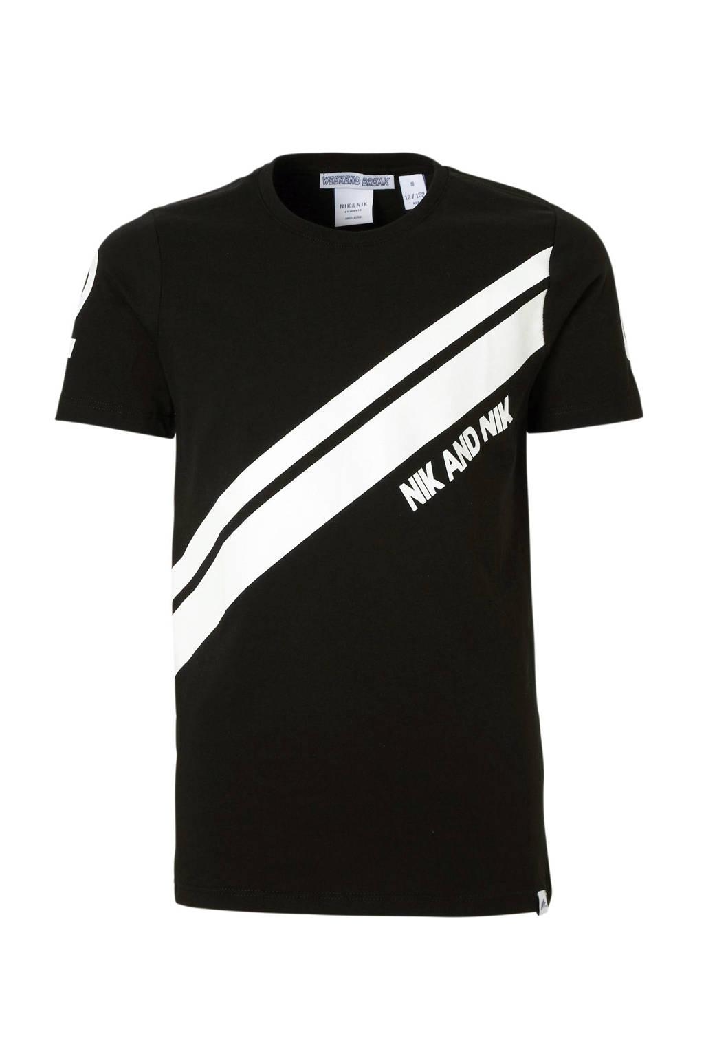 NIK&NIK T-shirt Henk met printopdruk zwart/wit, Zwart/wit