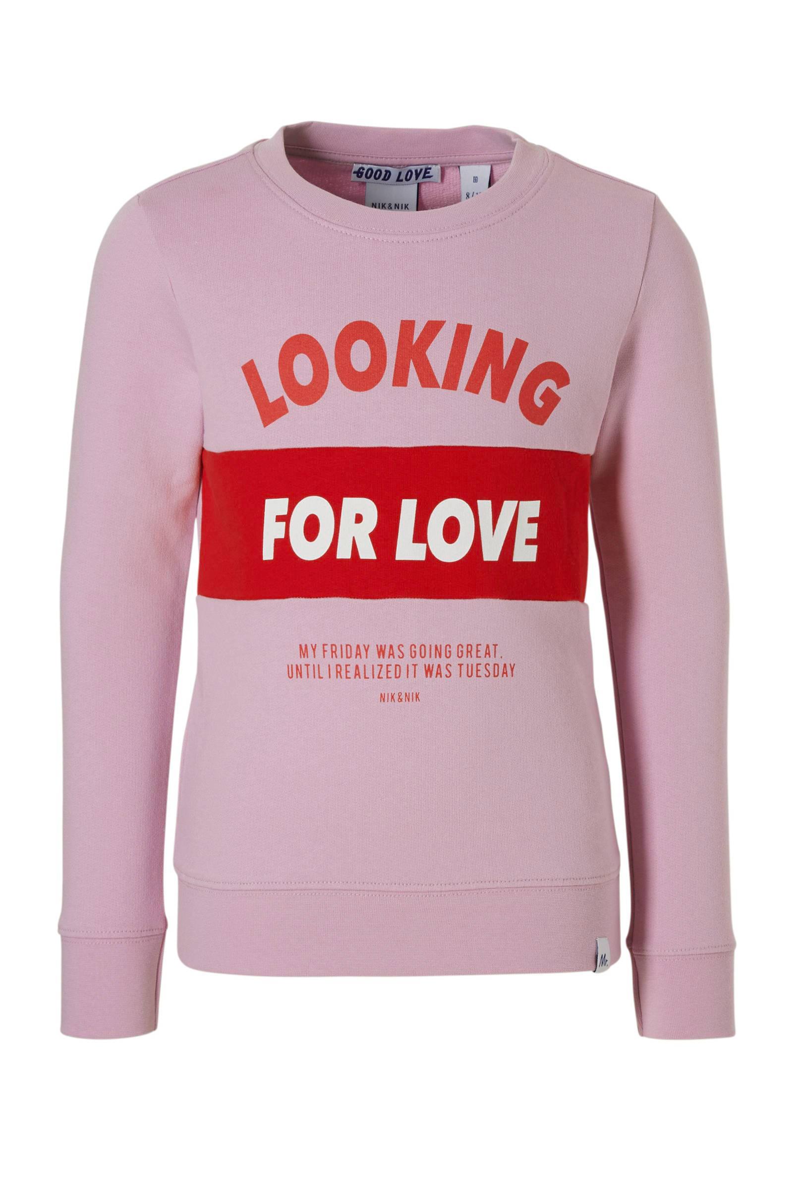 NIK&NIK sweater Good Love met tekst rood | wehkamp