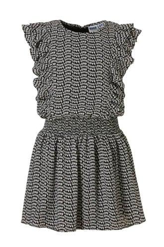 korte jurk met alloverprint en ruches Basha zwart
