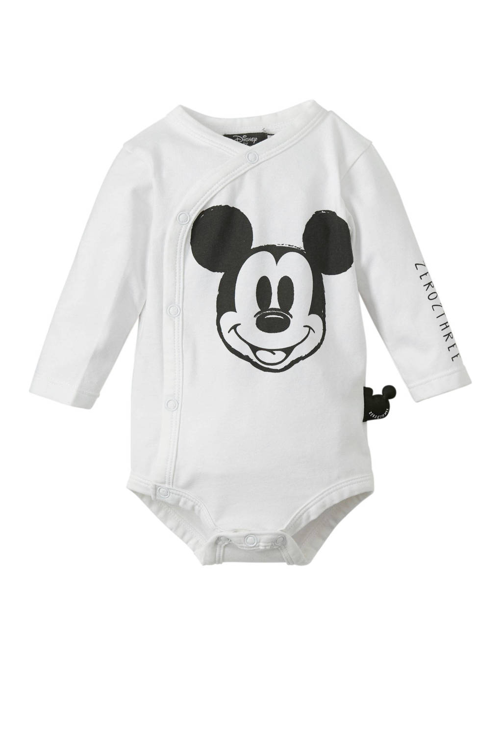 Zero2three newborn Mickey Mouse romper wit, Wit/grijs
