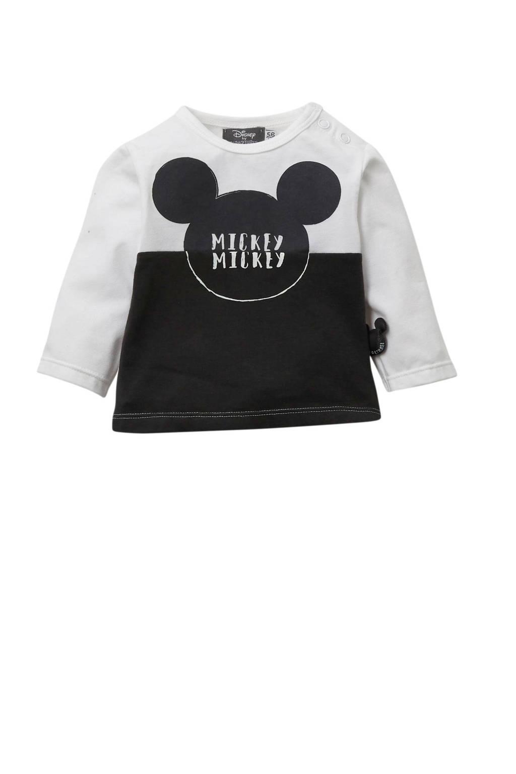 Zero2three newborn Mickey Mouse longsleeve, Wit/grijs