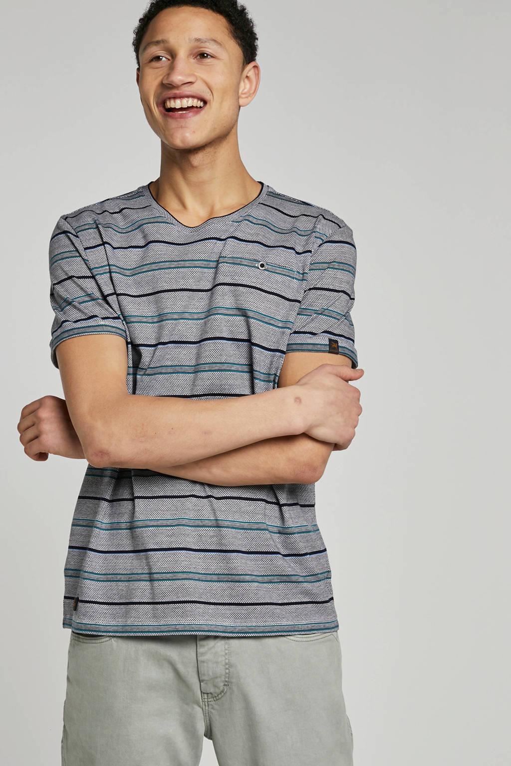 Vanguard T-shirt met print zwart, Zwart/wit/blauw