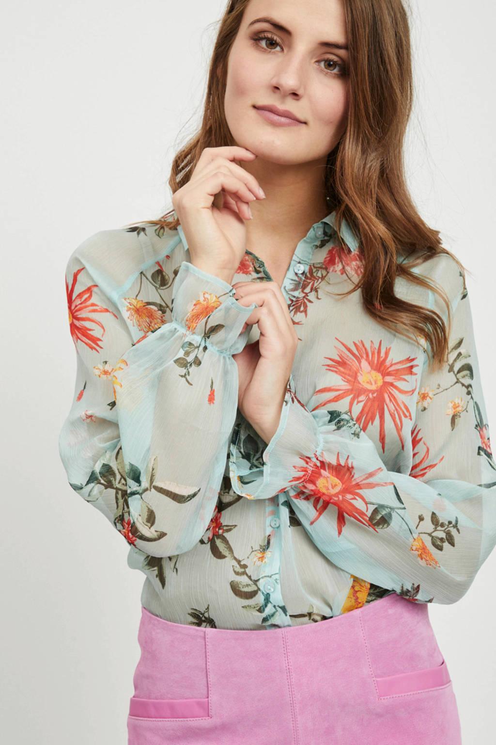 VILA gebloemde blouse met open details, Lichtblauw/groen/rood/geel