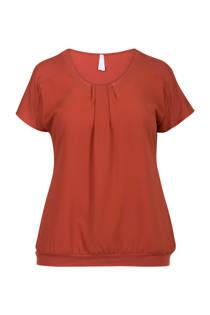 Miss Etam Plus T-shirt met plooi details rood