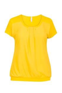 Miss Etam Plus top met plooidetails geel (dames)
