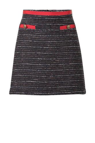 tweed A-lijn rok zwart