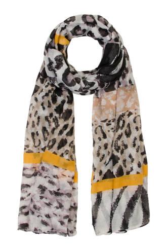 Accessoires panterprint sjaal zwart