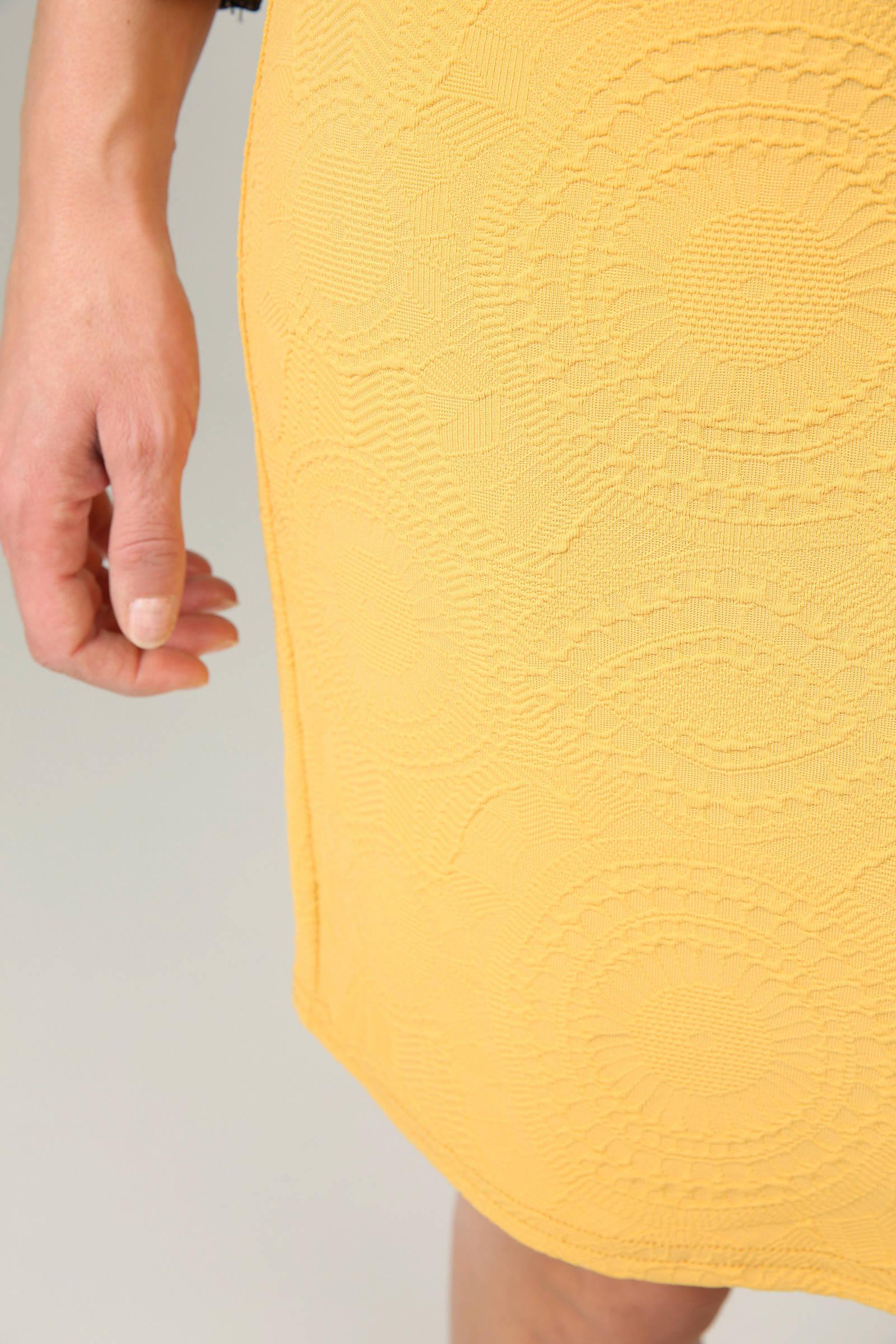 4f7241b459b2d4 Cassis kokerrok van jacquard geel