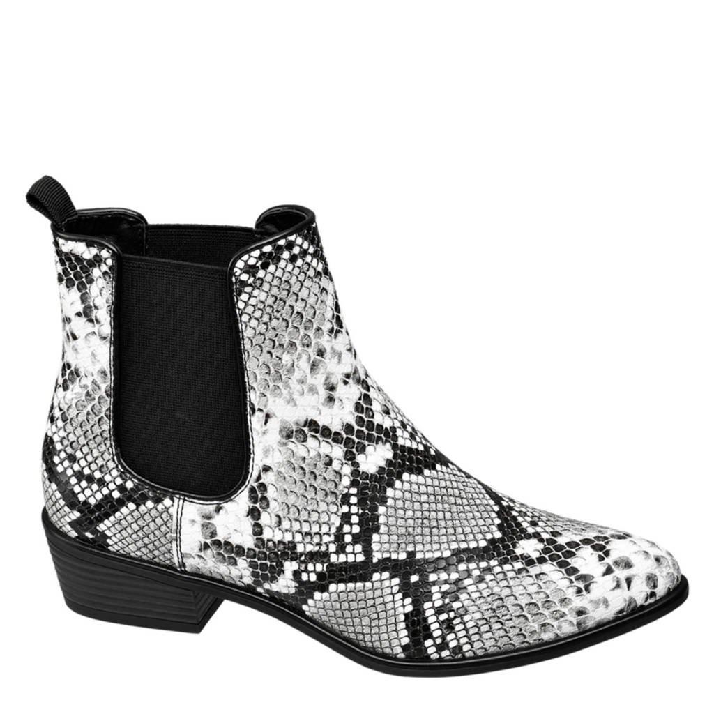 vanHaren Graceland chelsea boots met slangenprint, Wit/zwart/grijs
