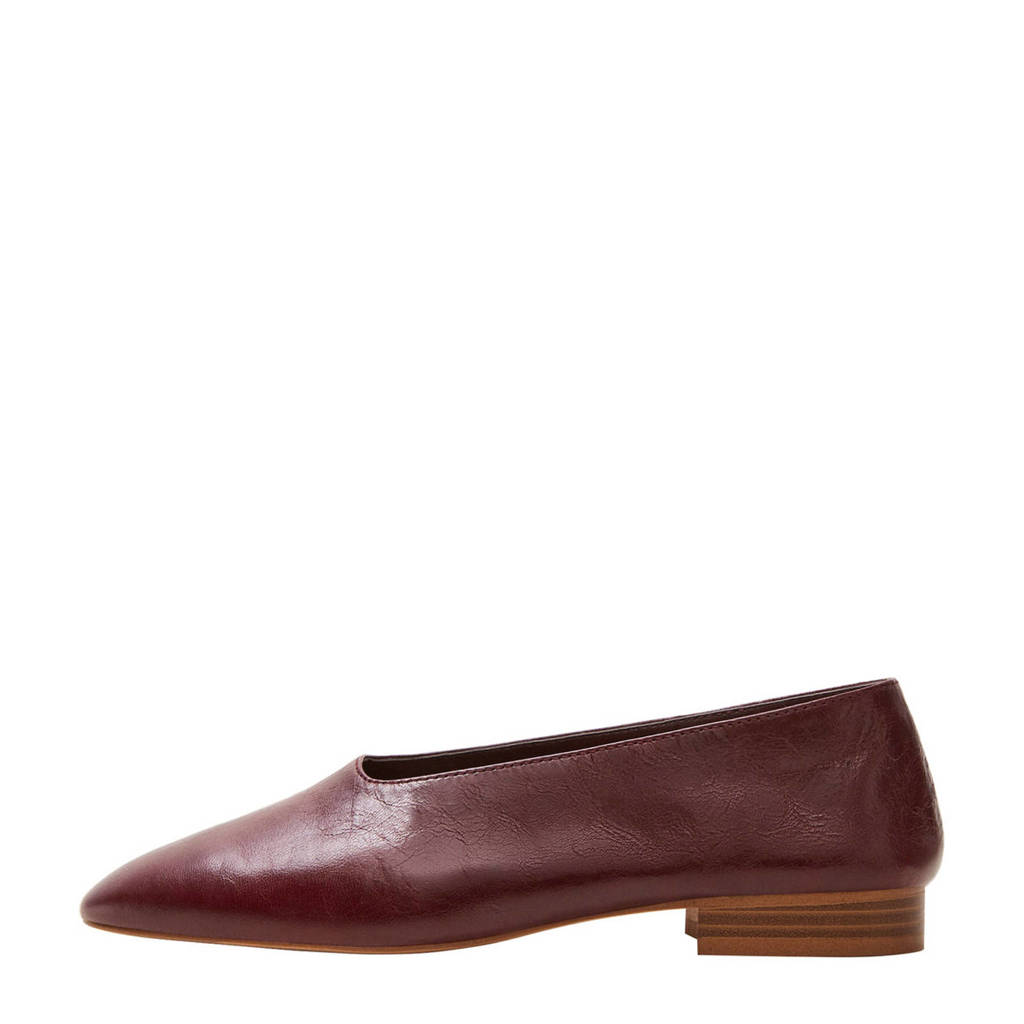 Mango leren loafers rood, Donkerrood