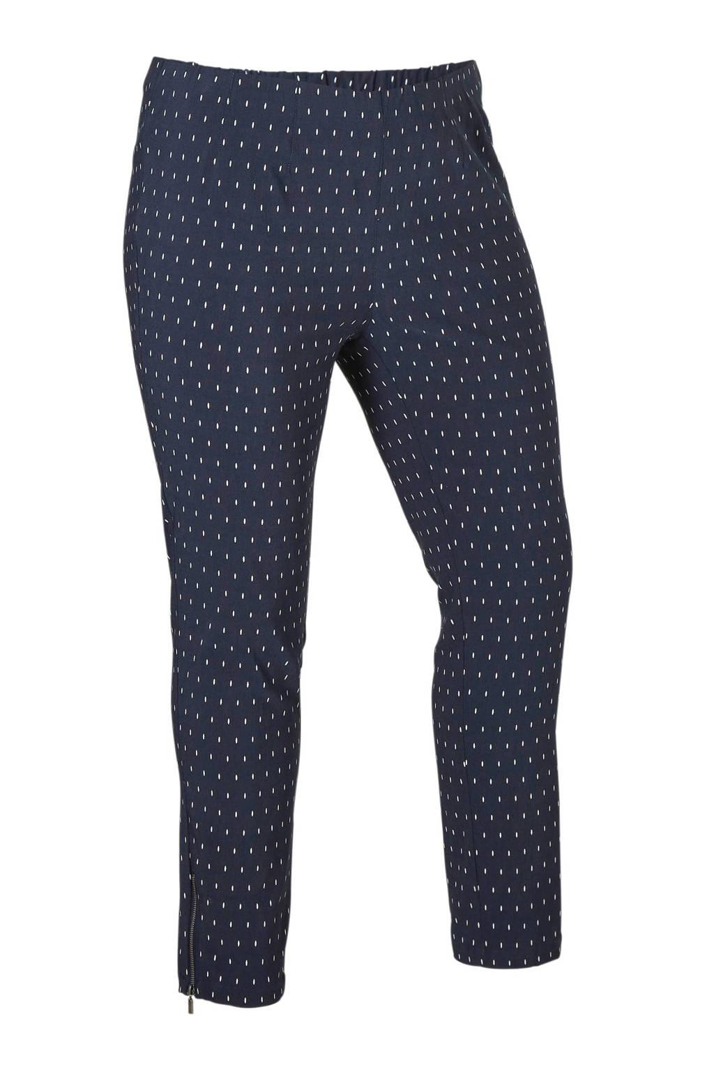 Ciso broek met stipdetails, Donkerblauw/wit