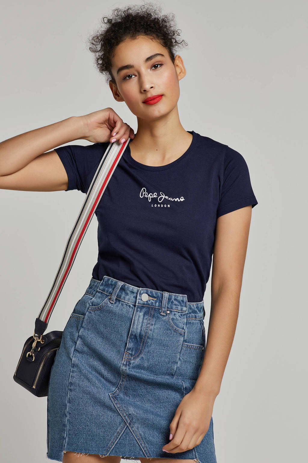 Pepe Jeans New virginia T-shirt, Donkerblauw/wit