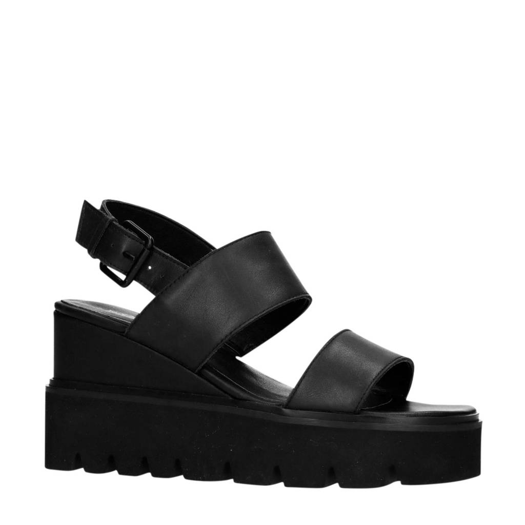 Sacha leren plateau sandalen zwart, Zwart