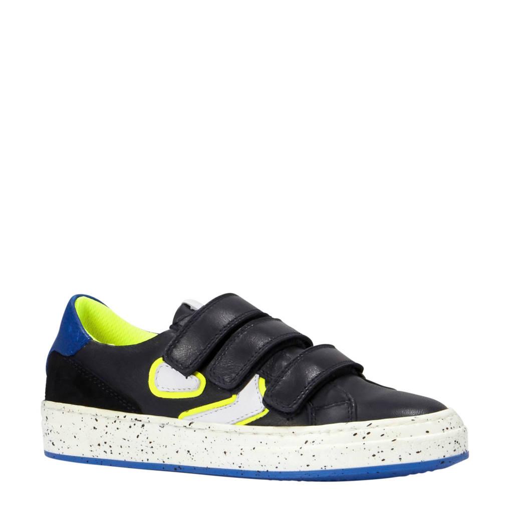 Kanjers  sneakers met suède, Donkerblauw/wit