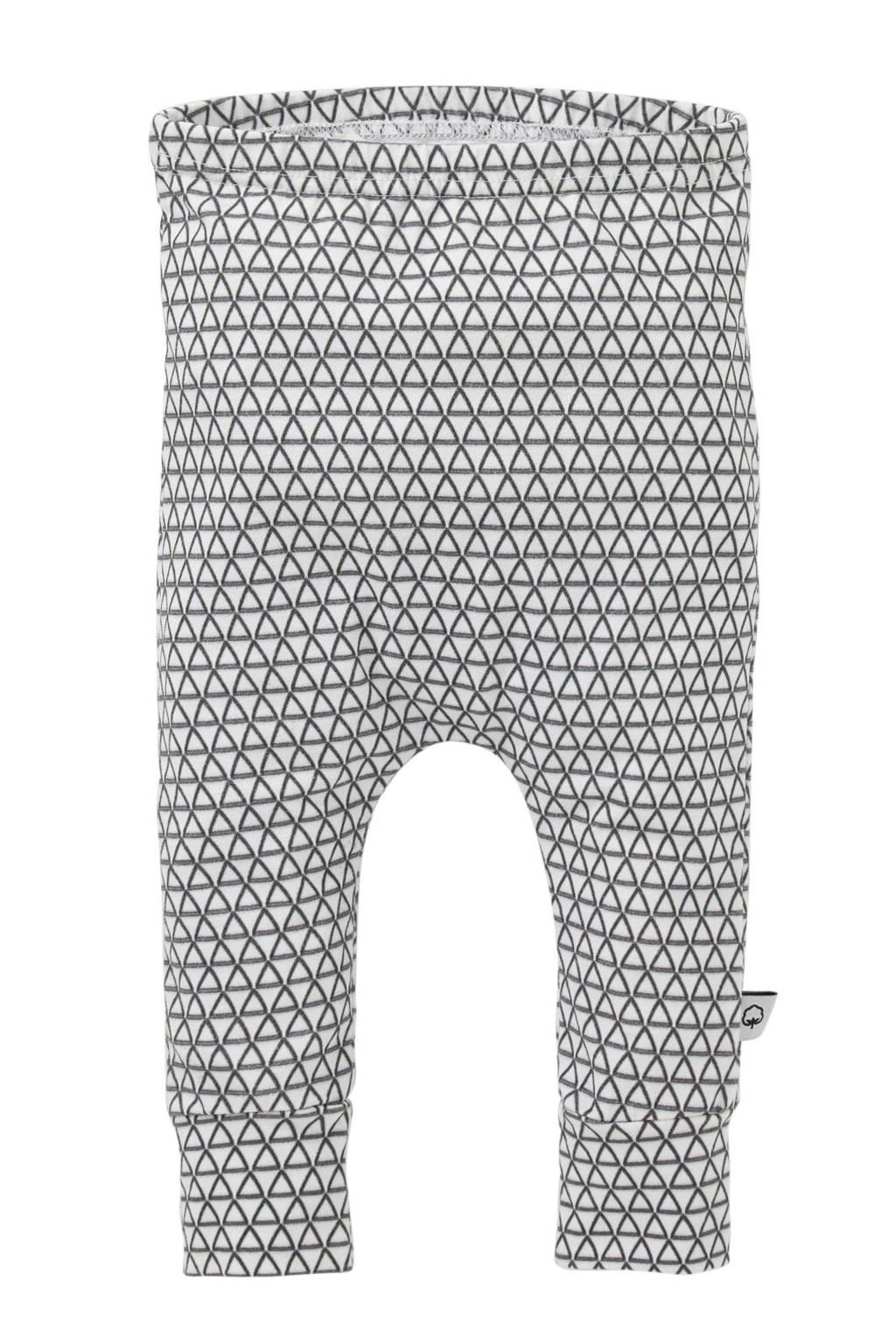 WOODEN baby broek met all over print wit, Wit/zwart