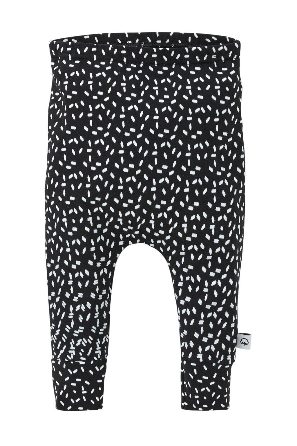 WOODEN baby broek met all over print zwart, Zwart/wit