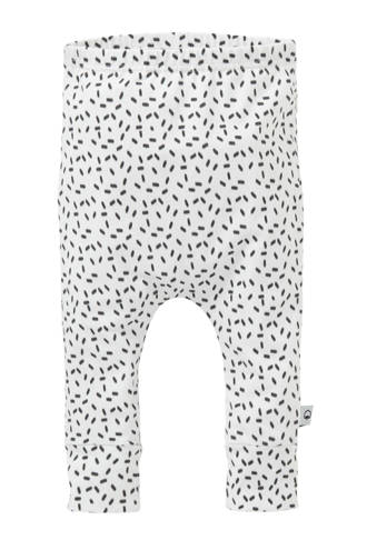 baby broek met all over print wit