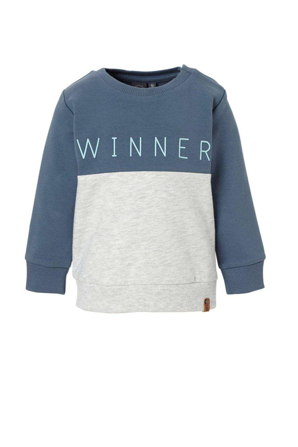 Babyface sweater met tekst blauw, Donkerblauw/lichtgrijs