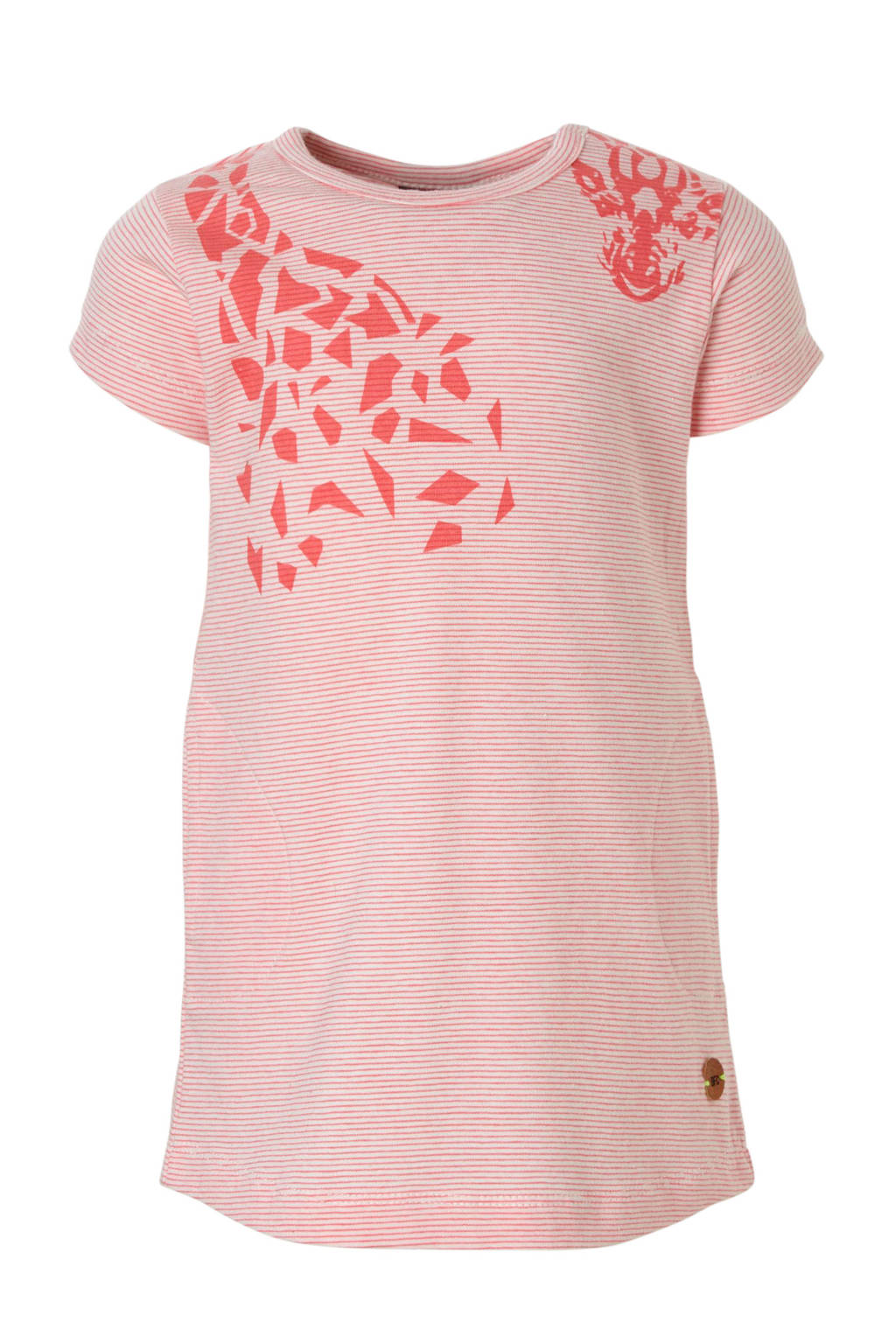 Babyface gestreepte jurk met giraf roze, Roze