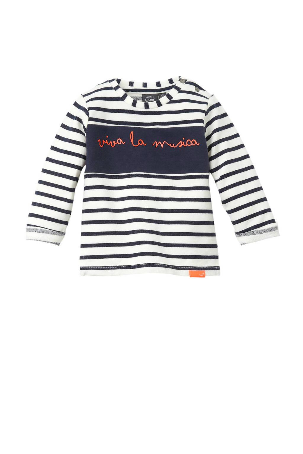 Babyface newborn baby sweater, Ecru/donkerblauw