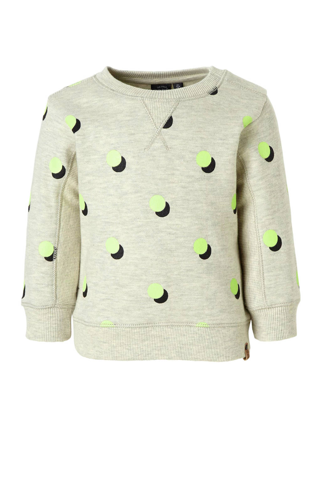 Babyface sweater met all over print grijs, Grijs melange/lime