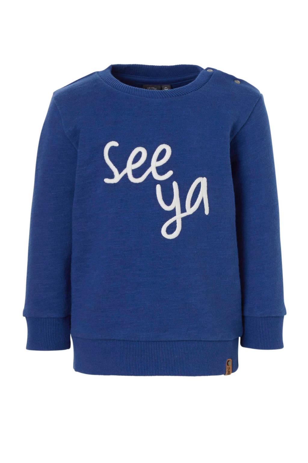 Babyface sweater met tekst kobaltblauw, Kobaltblauw