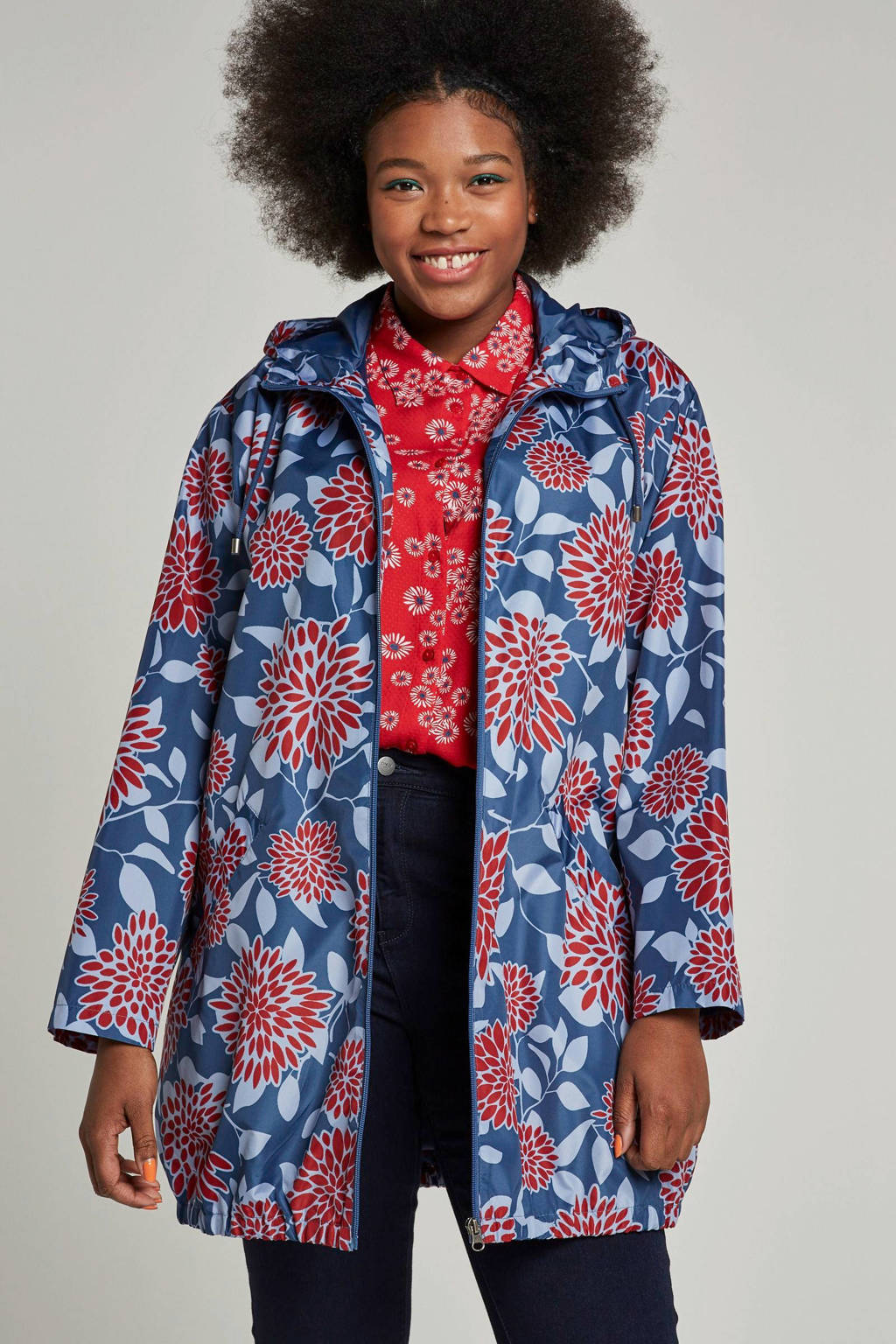 Ciso jas met all-over print, Blauw/rood