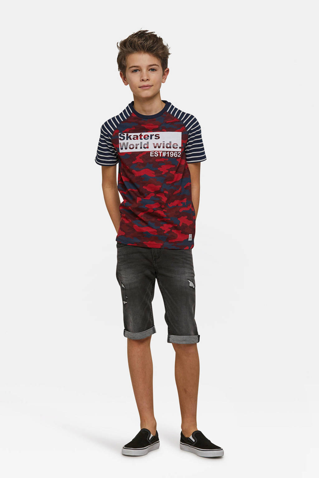 WE Fashion T-shirt met allover print rood, Rood/donkerblauw