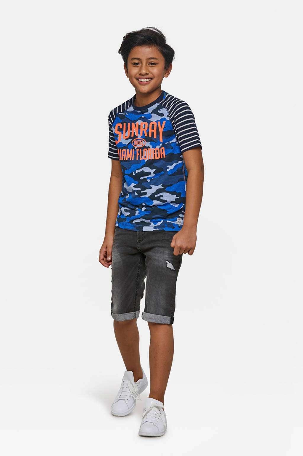 WE Fashion T-shirt met camouflageprint blauw, Blauw