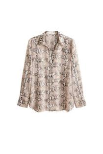 Mango blouse met slangenprint beige (dames)
