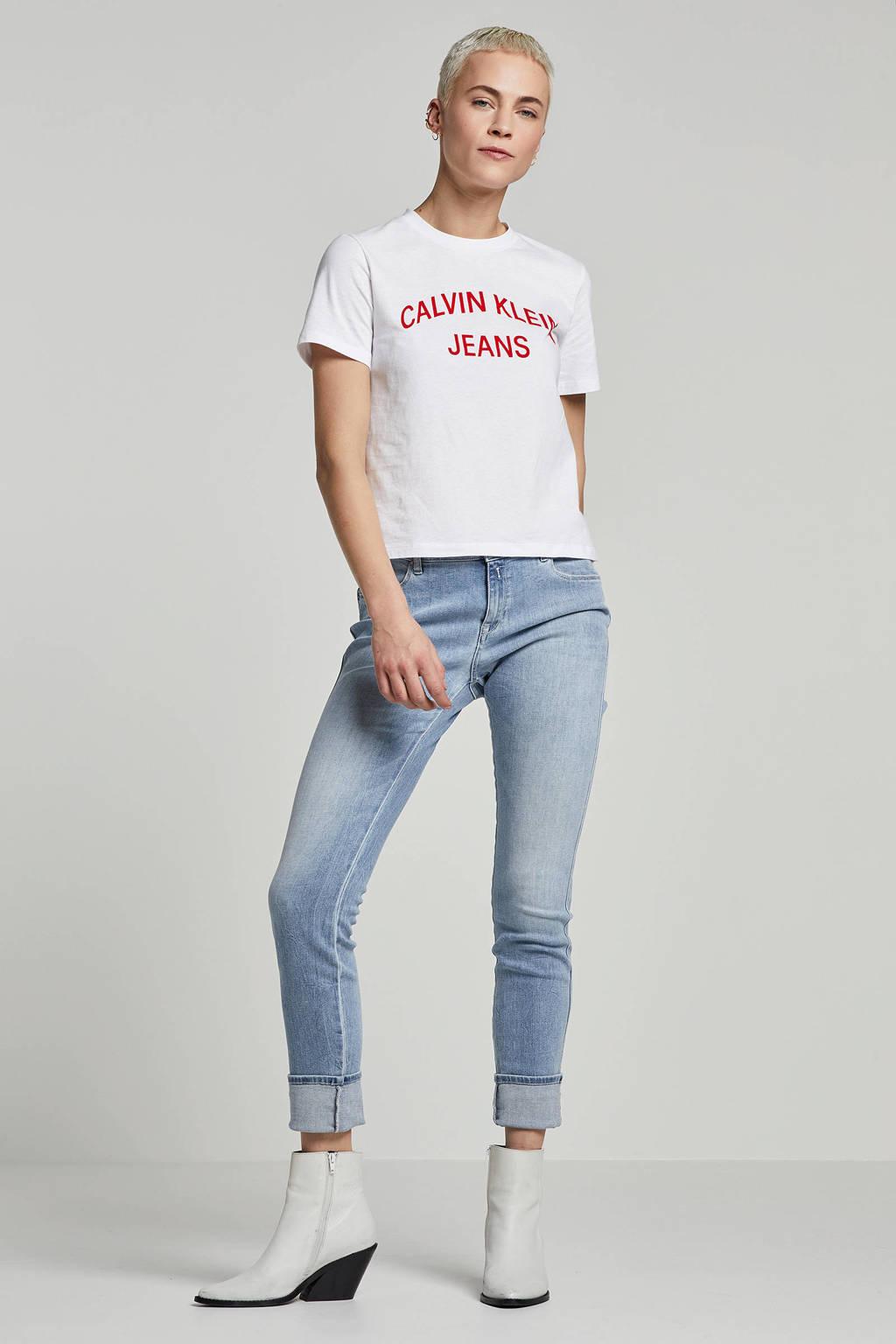 Calvin Klein Jeans t-shirt met flock print, Wit/rood
