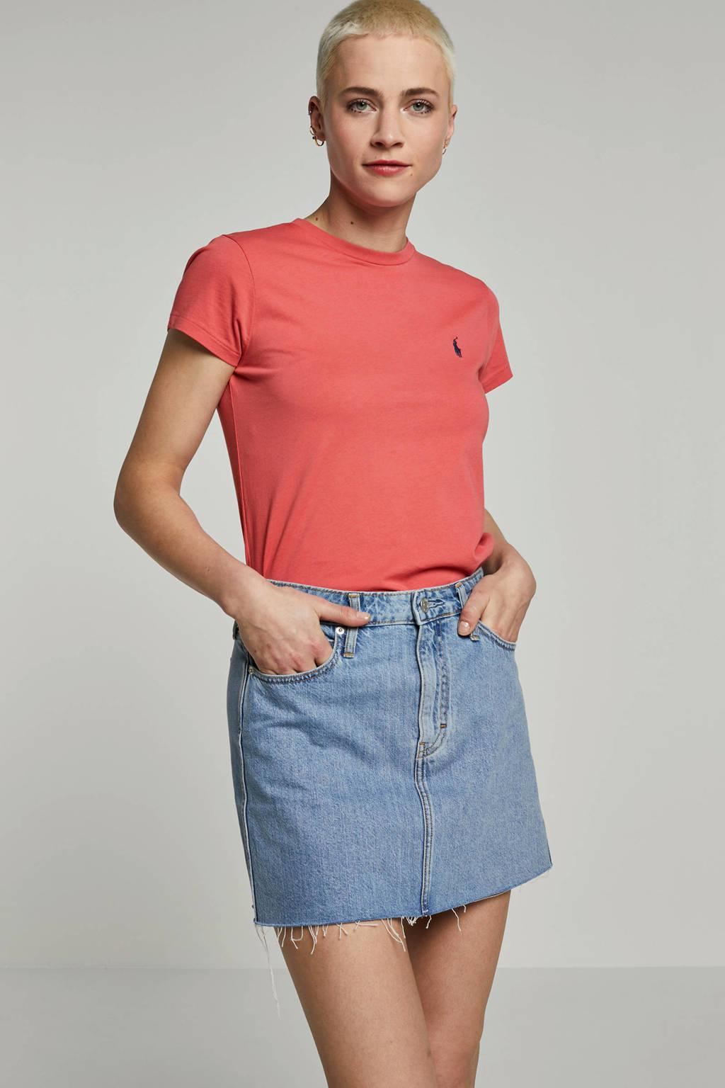 Calvin Klein Jeans spijkerrok met logo blauw, Blauw/rood