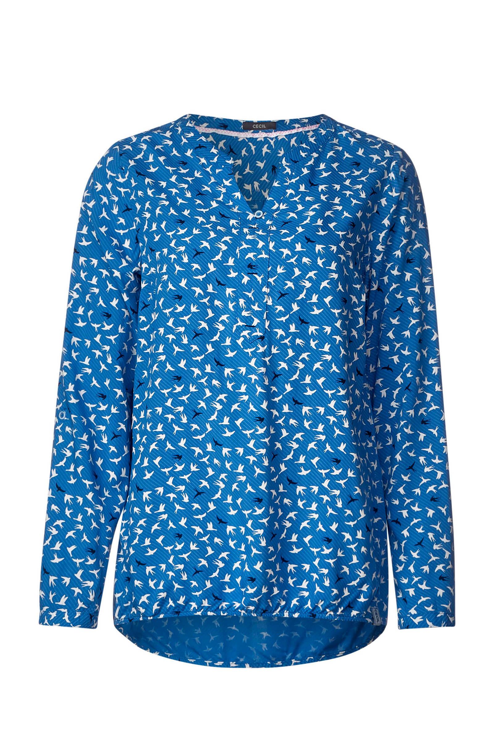 blauwe blouse met vogels