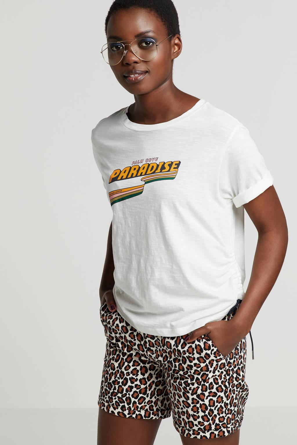 Scotch & Soda T-shirt met printopdruk, Wit/oranje/groen/roze