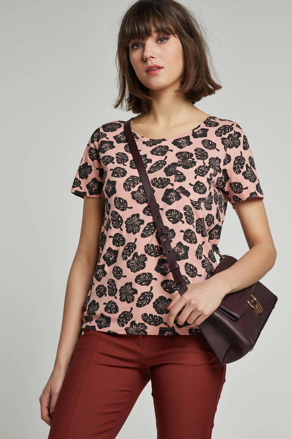 Scotch & Soda T-shirt met bloemenprint, Roze/zwart