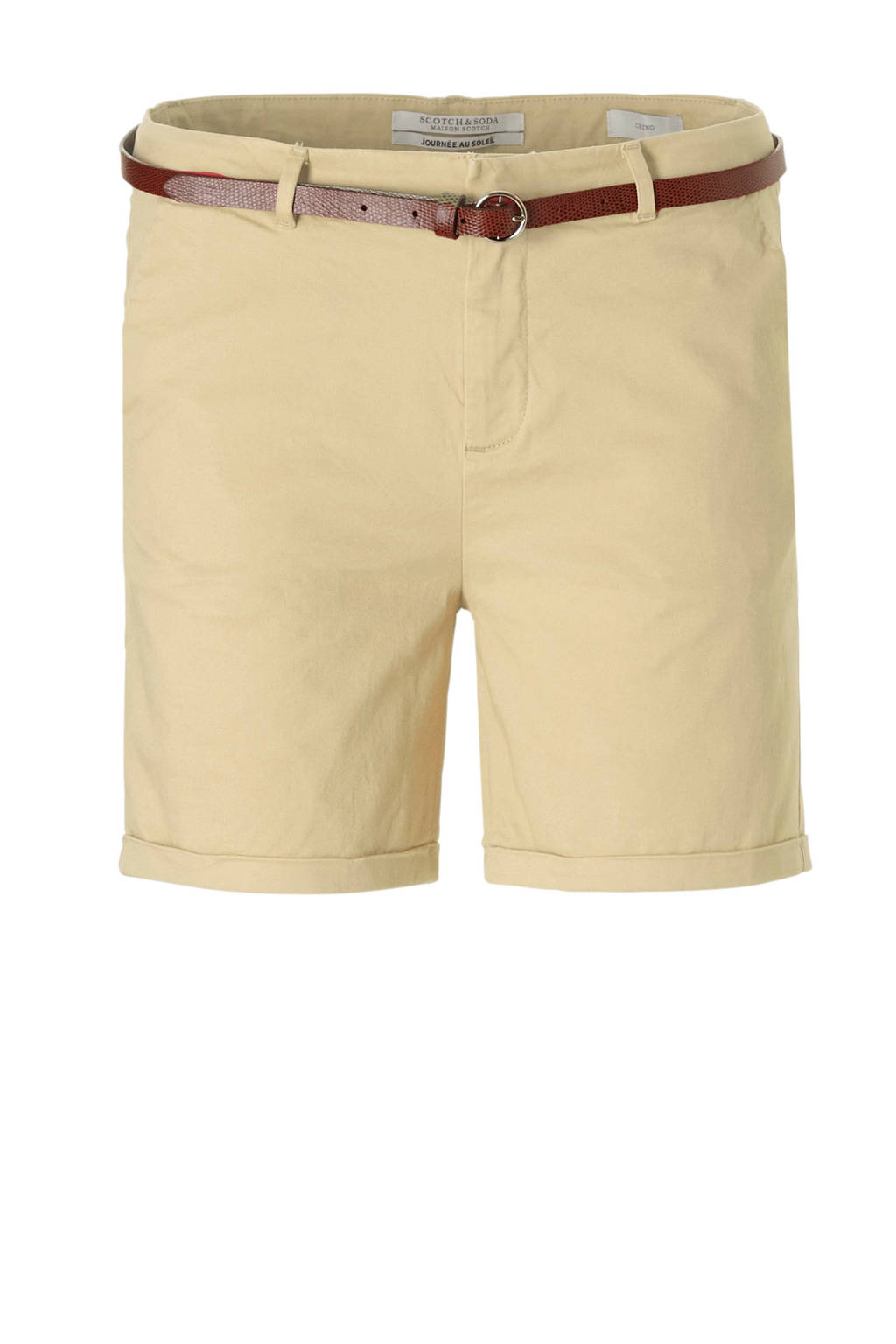 Scotch & Soda chino short met ceintuur, Lichtgeel