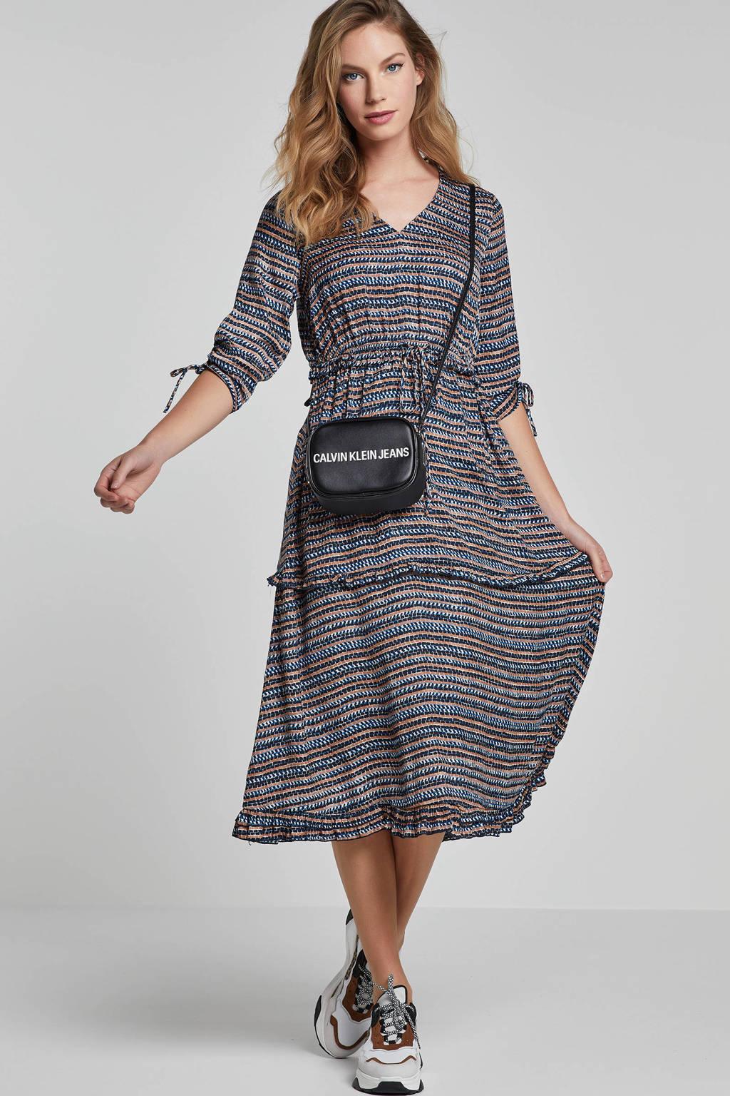 Scotch & Soda jurk met grafische print, Blauw/ bruin