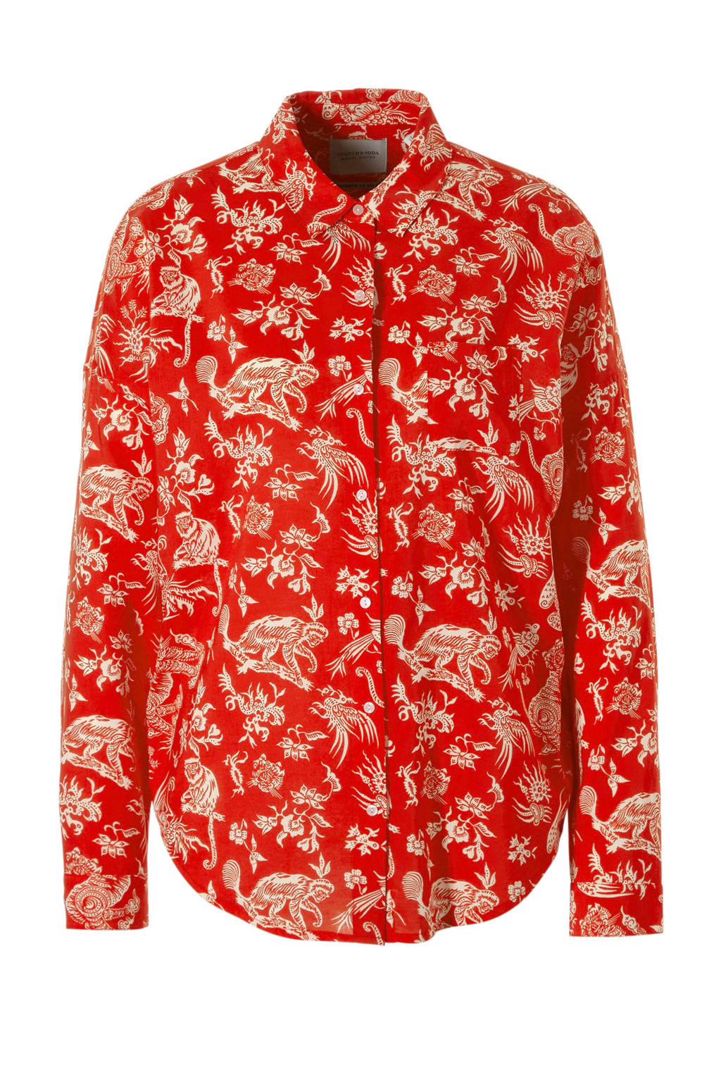 Scotch & Soda blouse met all-over print, Rood