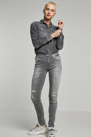 Be Yourself skinny fit jeans grijs