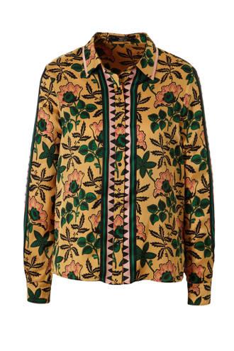 blouse met all over print oker
