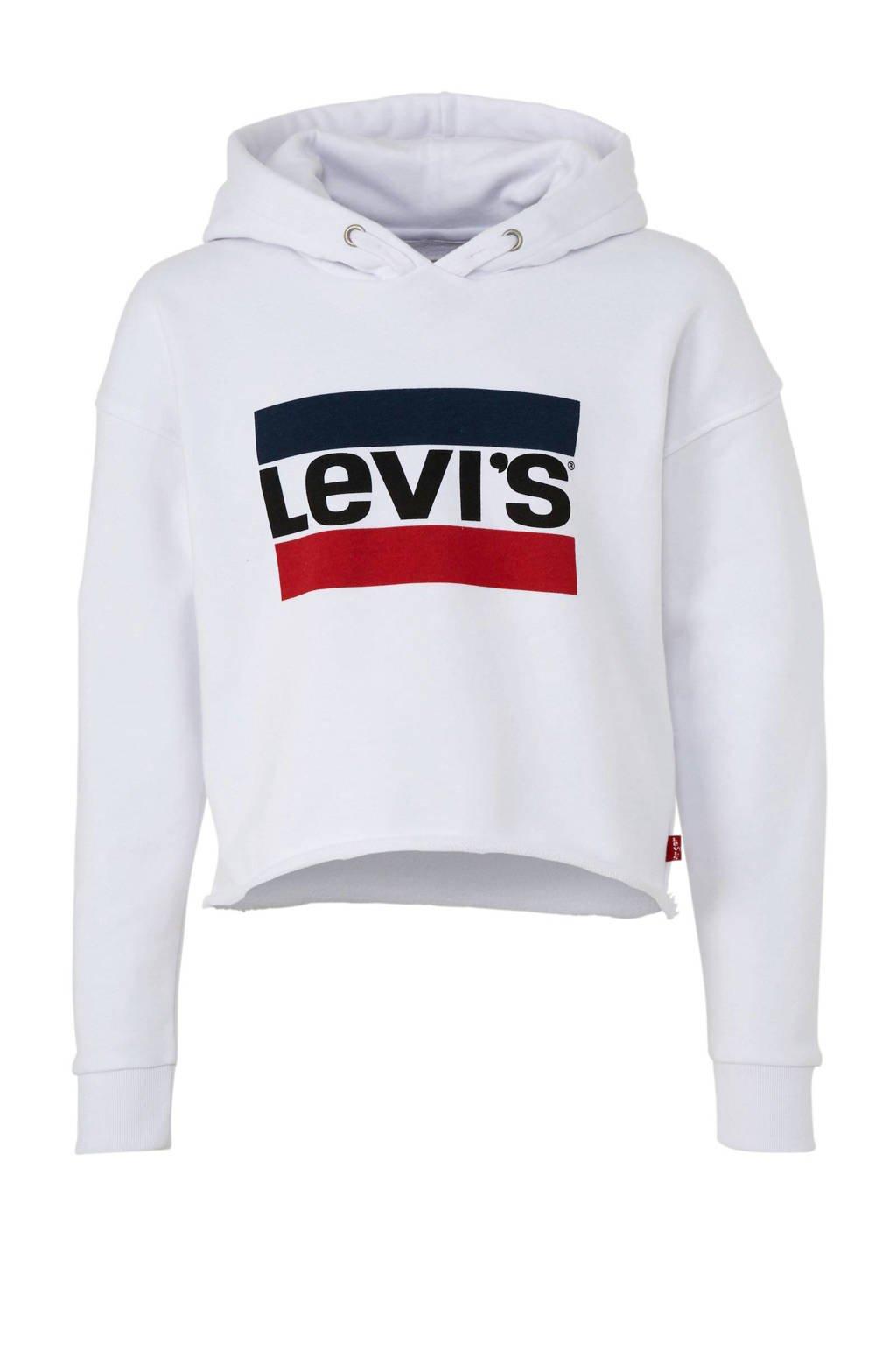 Levi's Kids cropped hoodie met logo Mystery wit, Wit