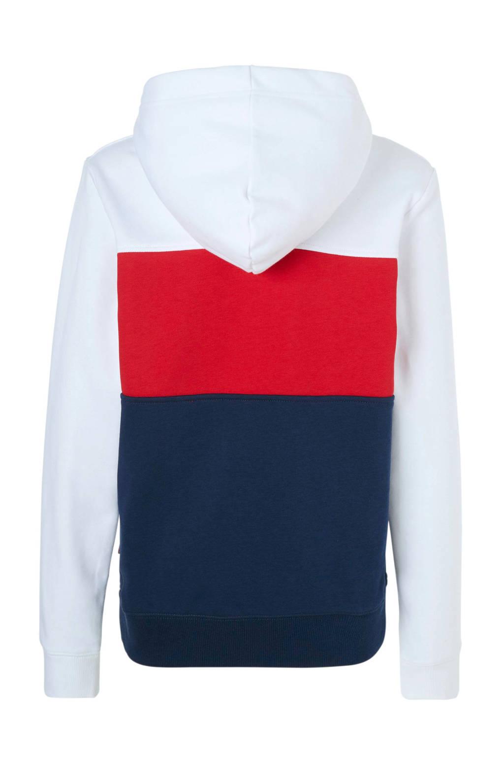 Levi's Kids hoodie met logo wit/blauw/rood, Wit/donkerblauw/rood