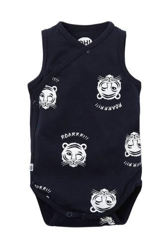 newborn romper Space met tijgers marine