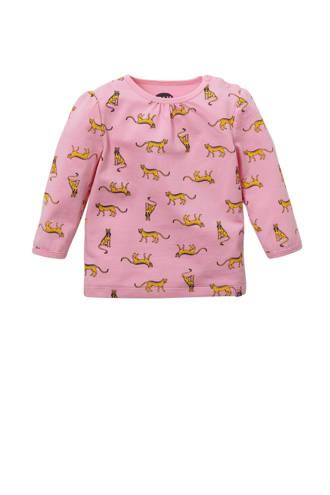 newborn T-shirt Charon met panterprint roze