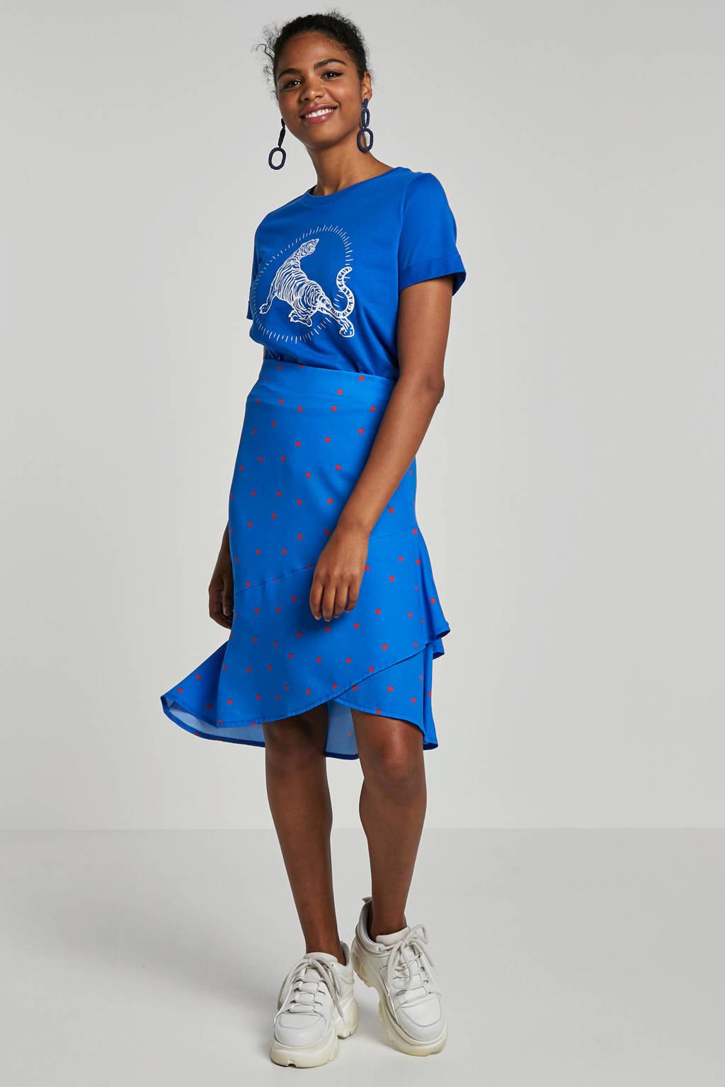 whkmp's own katoenen T-shirt met tijgerprint, Kobaltblauw