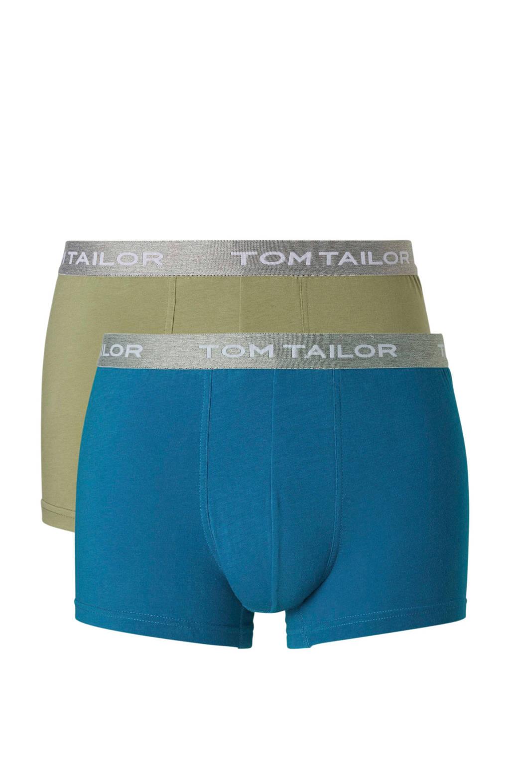 Tom Tailor boxershort (set van 2), Blauw/olijfgroen