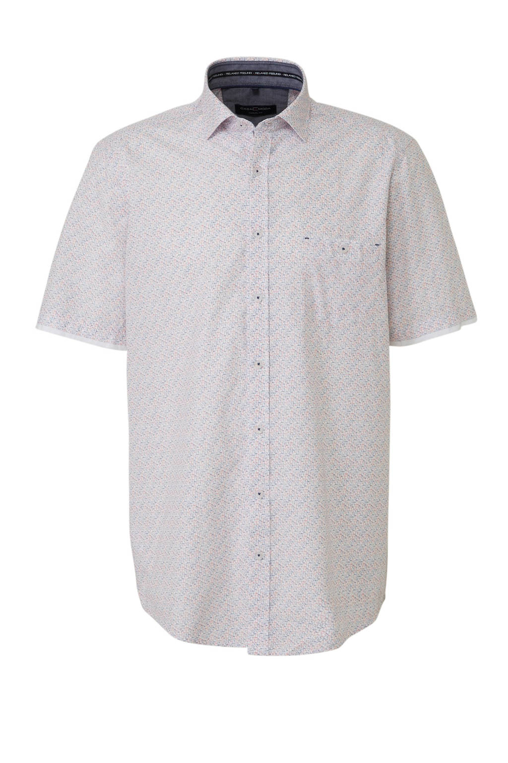 Casa Moda +size overhemd korte mouw, Wit/lichtblauw