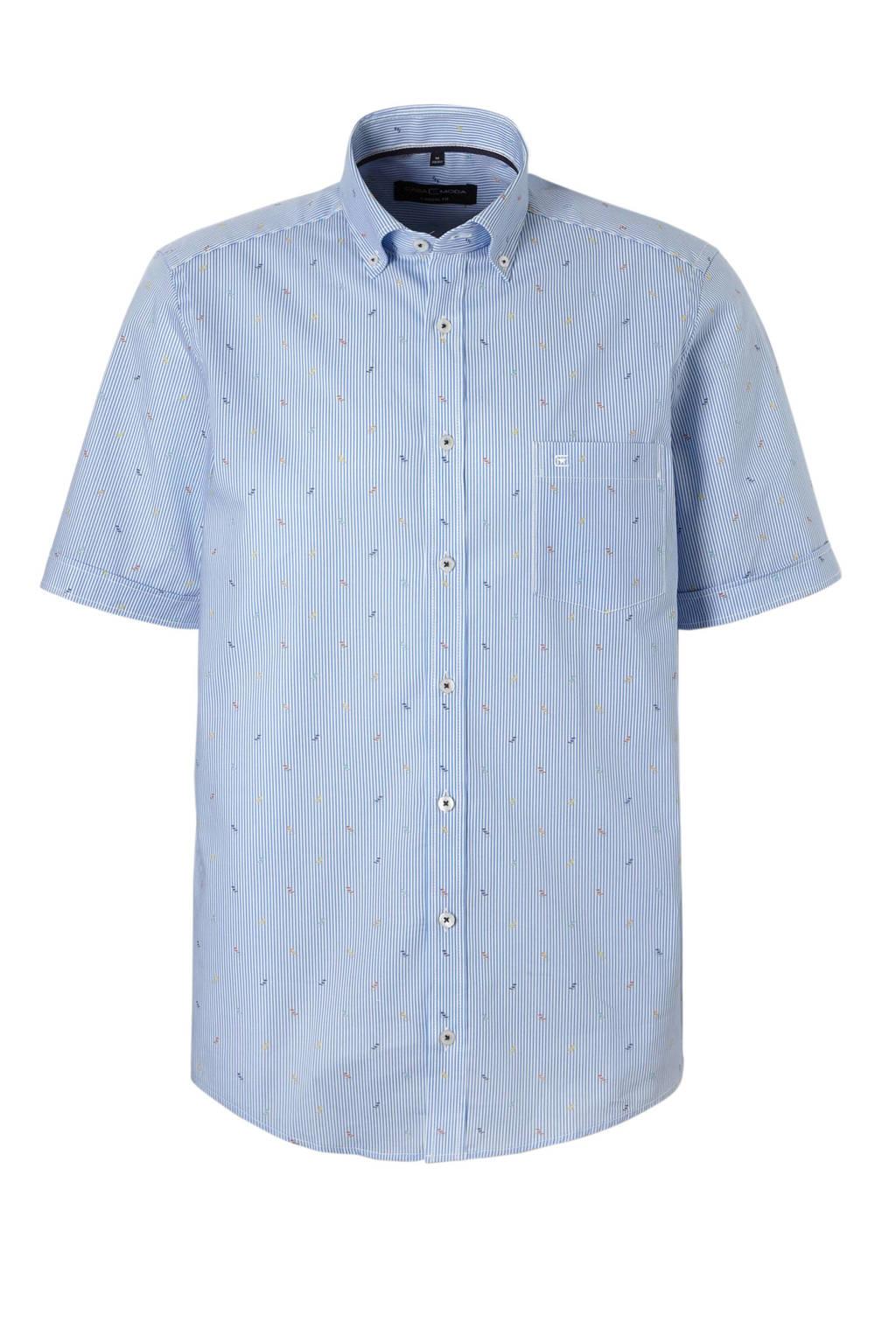 Casa Moda +size overhemd korte mouw, Blauw/wit
